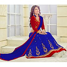 Florence Blue Net Semistiched Embroidered Lehenga