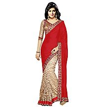 Florence Red Velvet Embroidered  Saree