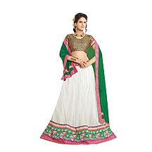 Florence White Net With Braso Embrodried Lehenga