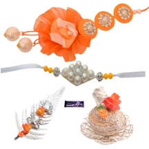 Foppish Mart Silky Rose Orange Bhaiya Bhabhi Rakhi Set