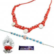 Foppish Mart Om & Stone Beaded  Rakhis For Brother