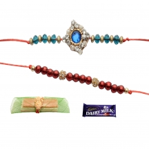Foppish Mart Pretty Beaded  Blue- Red Rakhis For Brother