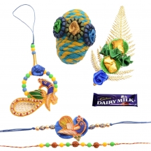 Foppish Mart Green Blue Traditional Peacock Bhaiya Bhabhi Rakhi Set