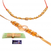 Foppish Mart Royal Golden Beaded  Rakhis For Brother