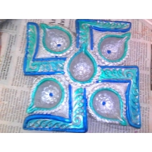 Diya Plate In Peacock Colours
