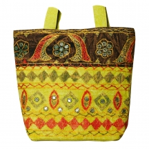 Halowishes Jaipuri Embroidery Mirror Work Olive College Bag 104