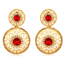 Inaya Gorgeous  Coloured Orange Chaton And High Gold Look Fashion Earring With