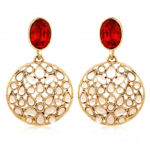 Inaya Red And Gold Filigiree Earring With Pearl