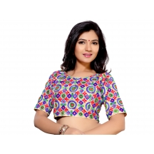 Indianefashion Unstitched Designer Multicolor Rawsilk Blouse