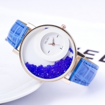 Blue Lady Fashion Leather Belt Round Women And Girl Watch Mp78