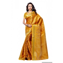 Mimosa Women\'s Art Kanchipuram Silk Saree With Blouse,color:gold(3190-164-gld)