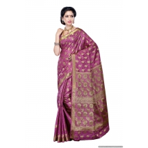 Mimosa Women\'s Tussar Silk Saree With Blouse,color:wine(3186-103-tus-wine)
