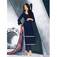 Khushali Presents Embroidered Georgette Dress Material(navy Blue)