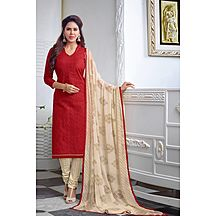 Khushali Presents Embroidered Chanderi Dress Material(red,cream)