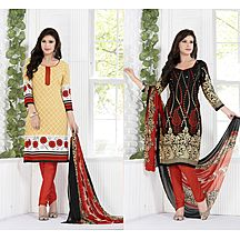 Khushali Presents Crepe Two Top Style Dress Material (beige,black,multi)