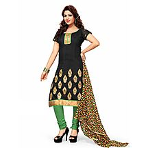 Khushali Women\'s Black Chanderi Embroidered Unstitched Straight Suit