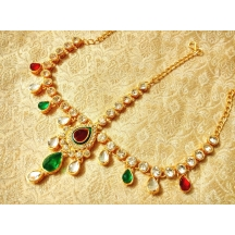 Royal Wedding Jewelry Multicolour Kundan Mathapatti Maang Tikka - Lmp01
