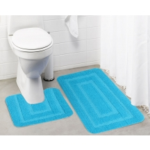 Lushomes Ultra Soft Microfiber Polyester Turquoise Large Bath Mat Set - Pombmrc1002