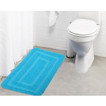 Lushomes Ultra Soft Microfiber Polyester Turquoise Large Bath Mat - Pombmr1002