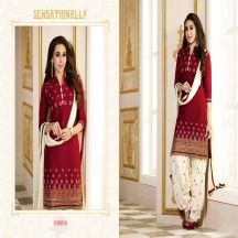 Zelly Creation Red Embroidered Cotton Salwar Suit With Dupatta
