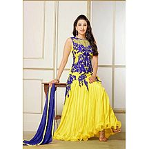 Yellow Embroidered Georgette Anarkali Suit
