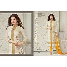 Cream And Yellow Beauty Straight Salwar Suit