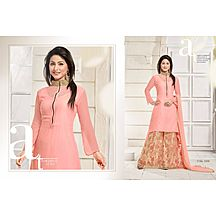 Peach Embroidered Georgette, Brasso And Net Lehenga