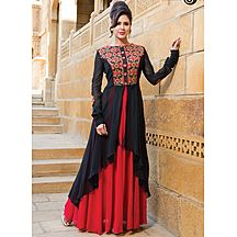Black And Red Embroidered Georgette Gown