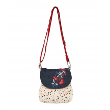 Red And Blue Polka Dot Canvas Sling Bag With Blue Top And Embroidery.