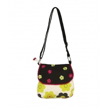 Lime Green Flower Canvas Sling Bag With Black Top And Embroidery.