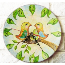 Handpainted Wooden Clock Made By Artisians In Rajasthan . Aahpcr10-001 A Muhenera Initiative Promoting Indian Art.