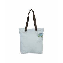 Sky Blue Canvas Printed Tote Bag With Pu Handle.