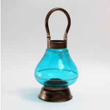 Designer Printed Lota Lamp Blue Made Of Steel And Glass In Antique Gold And Blue Color V42