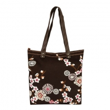 Muhenera Tanned Canvas Tote With Embroidery With Pu Handle.