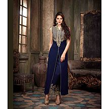 Om Silk Mills  100 % Original And Best Quality  New Charming Blue Color Full Embroidered Semi-stitch  Suit