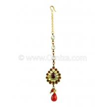 Kundan Pear Shaped Tika In Maroon Color And Golden Polish