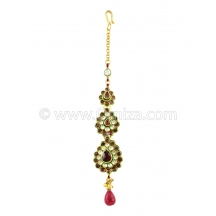 Kundan Pear Shaped Tika In Rhodolite Color And Golden Polish