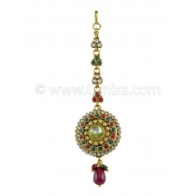 Round Shape Polki Tika In Ruby & Emerald Color And Golden Polish