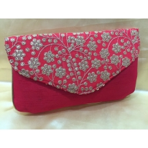 Rise N Shine Red Traditional Brocade Slim Clutches