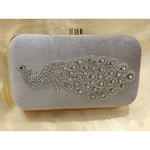 Rise N Shine Silver Colour Stone Studded Designer Oval Clutch