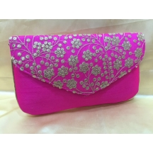Rise N Shine Pink Traditional Brocade Slim Clutches