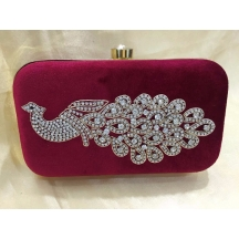 Rise N Shine Red Colour Stone Studded Designer Oval Clutch