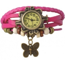 Festival Offer Pink Casual Analog Leather Women Wrist Watch (original)