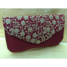 Rise N Shine  Traditional Maroon Colour Brocade Slim Clutches