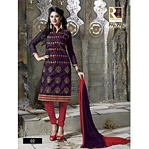 Royalvilla(tm) Palpal 02 Purple And Red Dress Material