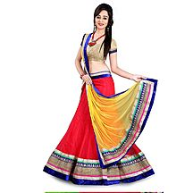 Red And Yellow Embroidered Net Lehenga