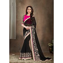 Royalvilla(tm) New Black Embroidered And Lace Work Saree