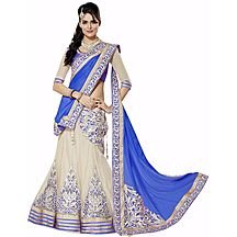 Blue And Cream Embroidered Net And Georgette Lehenga