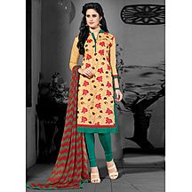 Fantastic Cream & Green Coloured Casual Wear Chanderi Embroidered Dress Material 299d1503