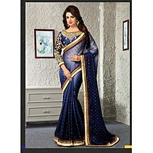 Bedazzling Navy Blue Ladies Satin Chiffon Embroidered  Saree With Blouse 93s4003